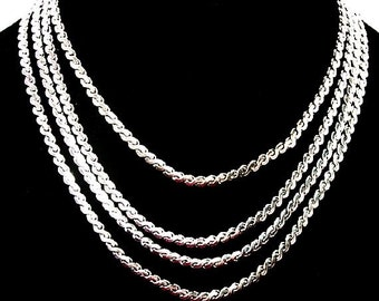 "CORO Silver 4 Strand Necklace Signed Silver Plated Chains Metallic Fashion 15"" Vintage"