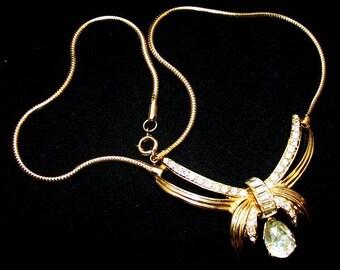 "RARE ""Halbe"" Bib Necklace Designer Signed Clear Rhinestones Gold Metal 16"" Vintage"