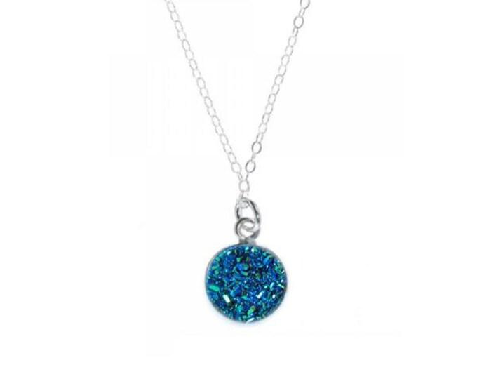 12mm Blue Titanium Chunk Druzy Necklace