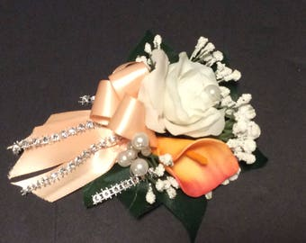 Wrist Corsage, Fabric corsage, Peach White Corsage, Prom flowers, Wedding Flowers, Silk Flowers