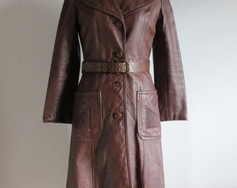 Vintage 70s Leather Coat/1970s Long Brown Leather Coat/Women Leather Coat/Women Brown LeatherCoat/Size Small & Medium