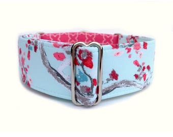 Cherry Blossoms Dog Collar - Pink Cherry Blossoms Feminine Floral 1 inch or 1.5 inch Martingale Collar or Buckle Dog Collar
