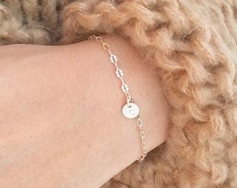 Personalized Gift, TINY Initial Bracelet, Everyday Jewelry, Custom Bracelet, Dainty Lace Chain Initial Bracelet, Lace Initial Bracelet