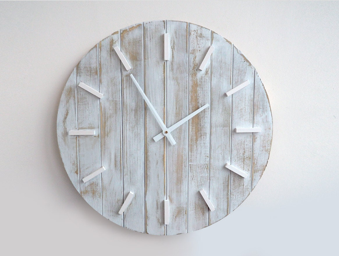 23.6 Inch Rustic Wall Clock Large Wall Clock Weathered Wood