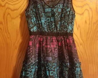 SALE Vintage Blue Pink Purple Aztec Print Babydoll Dress/Tunic - Size XS/Small