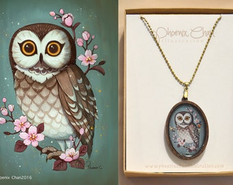 Owl Resin Pendant Necklace