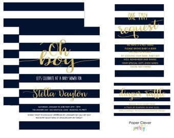 Mod Stripe Baby Shower Invitation Bundle - Gold & Navy - Stylish Boys Party Pack - Custom Printable with Book Insert and Diaper Raffle Cards