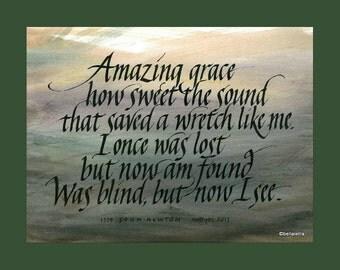 amazing grace calligraphy print 18 x 14