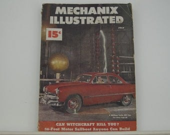 Mechanix Illustrated Magazine, July 1949 - Great Condition, Tips,  Science, Technology, Hundreds of Vintage Ads
