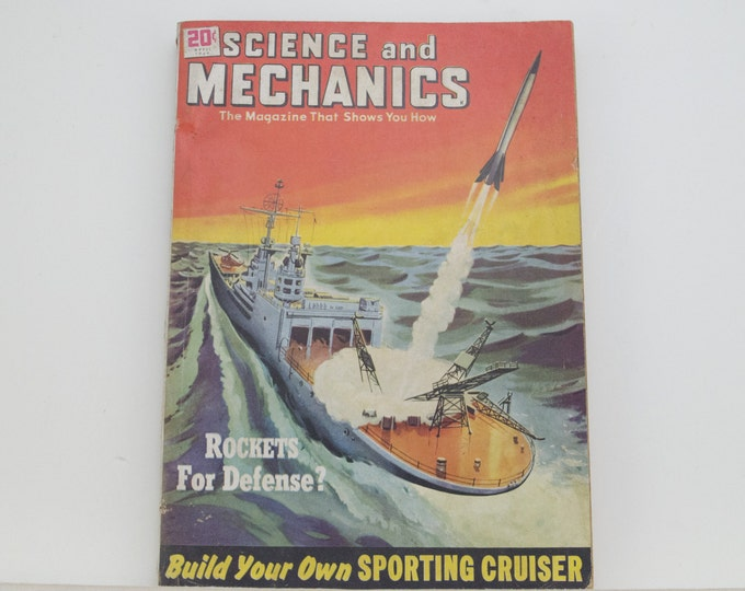 Featured listing image: Science and Mechanics Magazine, April 1949 - Great Condition - Fascinating Articles, Hundreds of Vintage Ads, Harley Davidson 125 Ad