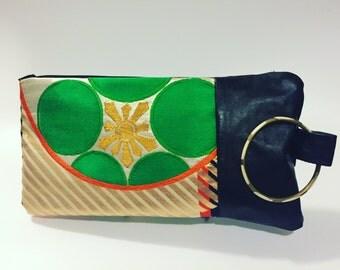 Bracelet Clutch with Repurposed Leather/Vintage Obi Belt