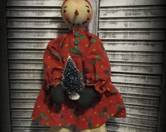 Primitive Snowman Girl Doll W~Christmas Tree Handmade Holiday Christmas Decor
