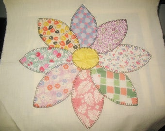 Appliqued Patterned Flower Petals on 17 Inch Fabric Square  Yours to Finish