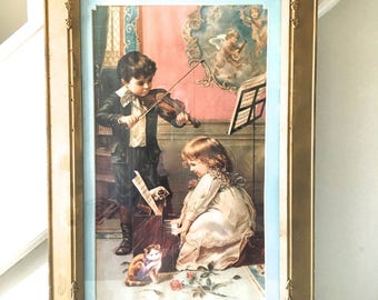 Vintage Gold Frame with Victorian Print Young Boy Playing Violin Girl Playing Piano