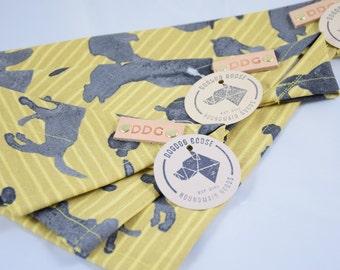 Dog Bandana - Yellow & Black Cotton Dog Scarf