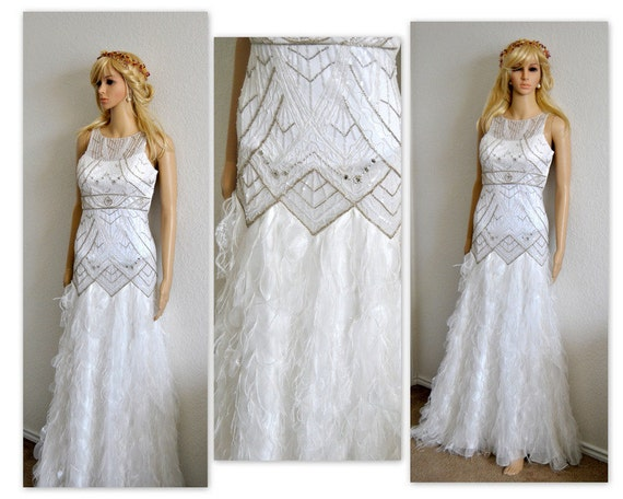CLEARANCE SALE Feather Wedding Dress Lace Bridal Gown Ruffle