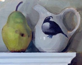 "Archival 8"" x 12"" Art Print / Free Shipping / Pear and Quail Cream Pitcher (no.146) Oil Painting Realism Pear Fruit Still Life Pitcher Fall"