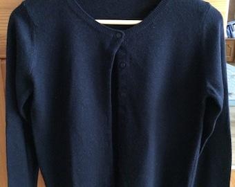 Benetton woman extra fine merino wool cardigan black wool pullover size M vintage sweater