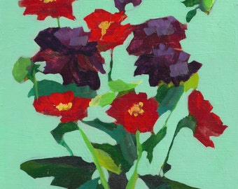 vibrant and colorful original fine art modern painting of flowers in Acrylic on a wood panel