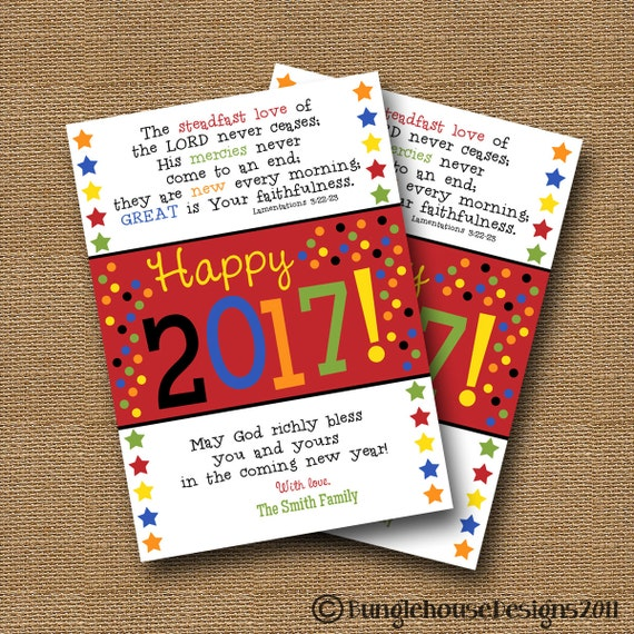 Christian New Years Card | Scripture Verse Happy New Year | DIY PRINTABLE | Happy New Year Confetti Bible Verse Card | Lamentations 3:22-23