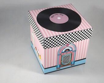 Digital Printable Cupcake Box Retro 50's Theme - Party Favor - Gift Box - 1950's - Vintage Look