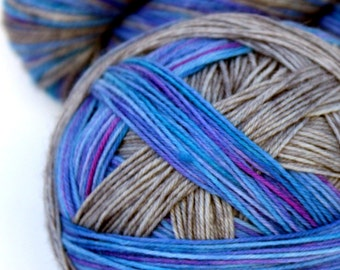 "Self Striping Sock Yarn, Superwash Merino and Nylon 75/25 Fingering Weight, in ""Storm Lake"""