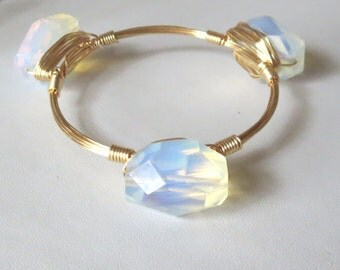 "Large Opalite Nugget Bangle Bracelet ""Bourbon and Bowties"" Inspired"