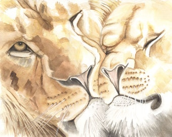 Lions, 8x10 print from original watercolor painting, animals, paintings, art prints, wall art, home decor,  earthspalette