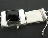 925 sterling silver tongue clasp 2 strands with square onyx 12x12x4.7mm