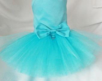 Blue Radiance Dog Wedding Dress, Dog. Blue Wedding Tutu Dress -  Turquoise Bridesmaid Dog Dress Tutu