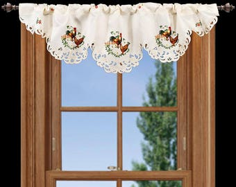"Beautiful Embroidered Rooster and Hen on Cream Polyester 14"" X 54"" Window Valance/Curtain"