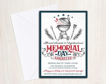 Memorial Day BBQ Invite - Memorial Day Invitation  - BBQ Party - Party Supplies