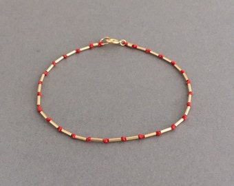 Silk Thread Line Gold Fill Bracelet also available in Silver