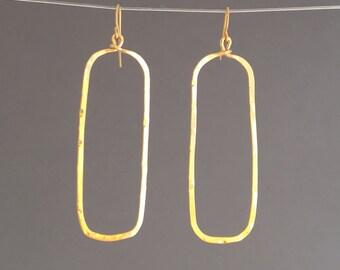 Gold Hammered Rectangular Hoop Earrings
