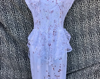 Vintage Upcycled Blood Splattered 80's White Dress with Lace. Zombie/Vampire Bride, Bloody Mary, AHS Lady Gaga The Countess Costume. Adult M
