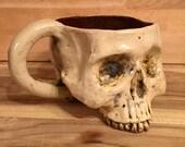Ceramic Skull Mug Rust and Bone with Handle