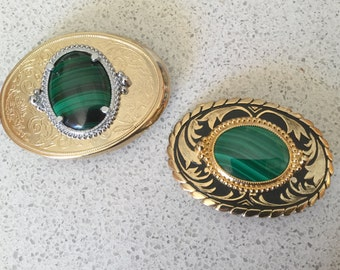 Malachite Western Belt Buckle - ONE LEFT