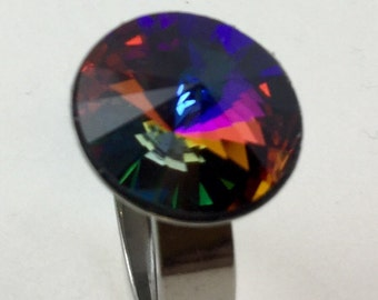 Swarovski Volcano 14mm Crystal Cocktail Ring,These Pleasing Purple, Lava Red and Royal Blue colors dance and play with light, hypoallergenic
