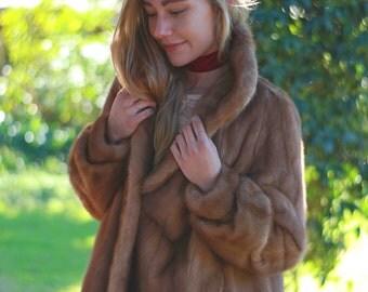 Amazing large vintage mink coat / classic autumn haze 70s fur jacket / bell sleeves nice collar slight swing shape / lovely pelt placement