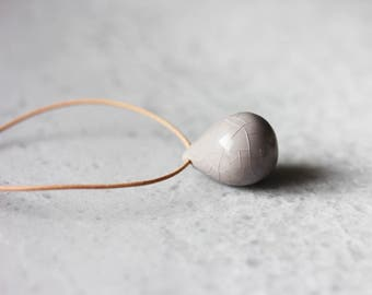 Handmade ceramic tear drop necklaces - grey
