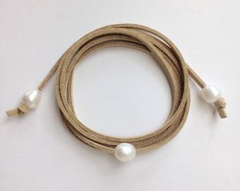 pearl necklace, wrap bracelet, pearl bracelet, beachcomber natural faux suede bracelet , freshwater pearl beach boho wrap bracelet