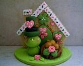 St. Patrick's Day Bird - Birdhouse - Polymer Clay - Figurine