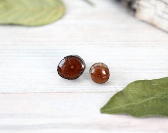 Wood earrings studs - Natural ear posts - Rustic wedding