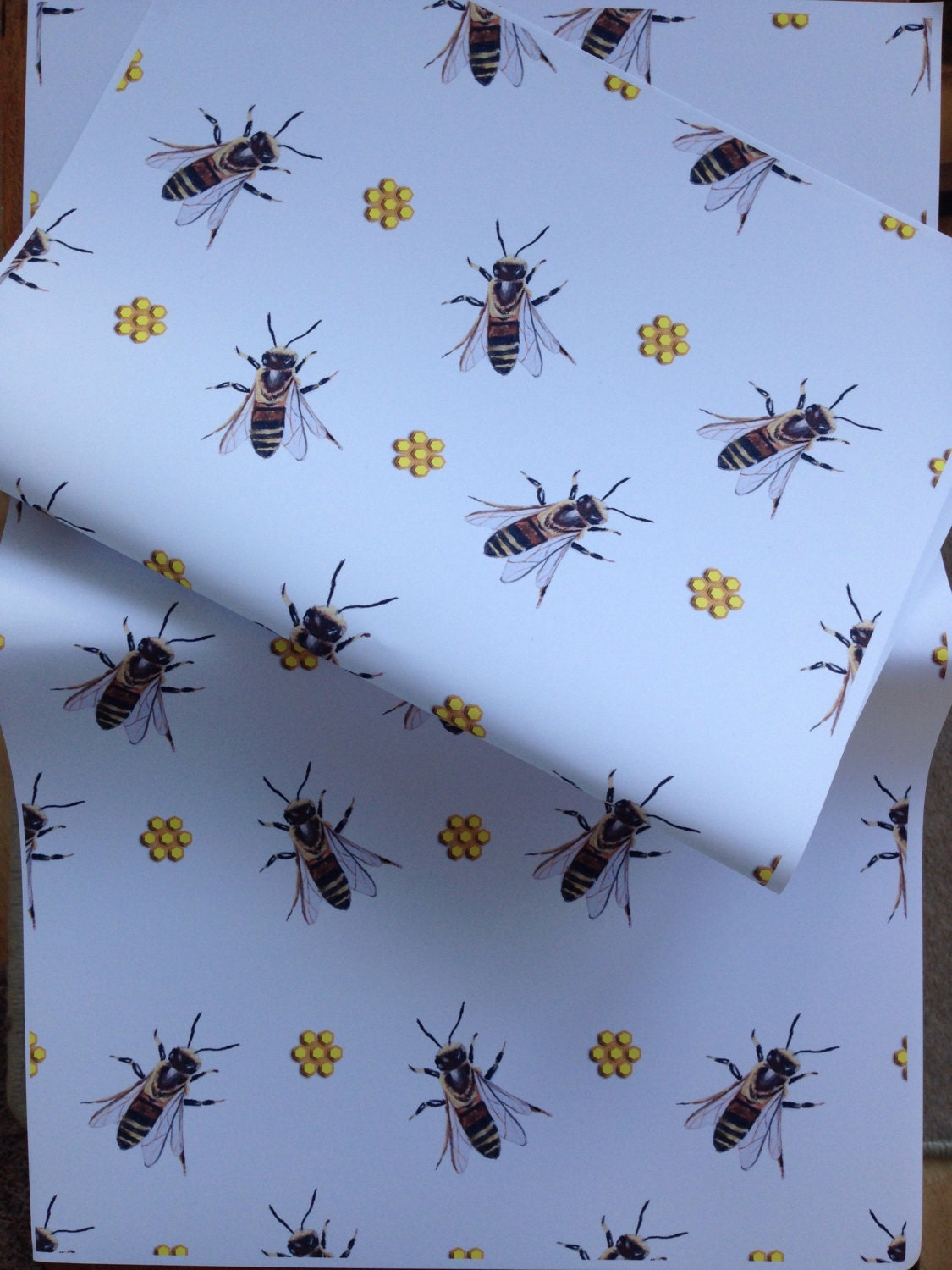 honey bee bee wrapping paper gift wrap for bee lovers bee keepers honeycomb read. Black Bedroom Furniture Sets. Home Design Ideas