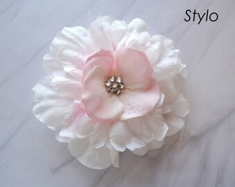 White and light pink  Flower Hair Clip