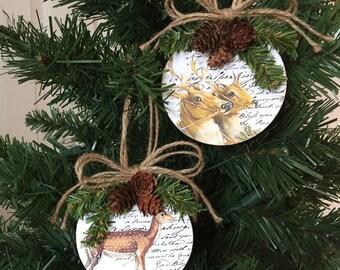 Set of Two Deer Upcycled Mini CD Christmas Ornaments
