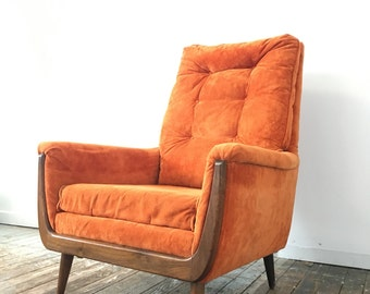 SOLD - Adrian Pearsall Style Orange Velvet chair Mid Century Modern Boho Chic