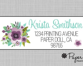 Address Labels, Watercolor Floral Labels Purple Aqua Flowers, Sticker Labels, Personalized Custom, Hostess, Birthday, Teacher Gift, Krista