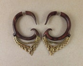 Faux Gauge Moroccan inspired Wood and Brass Earrings ~ The gauged look without the commitment! Free shipping