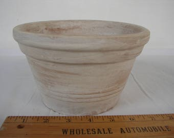 vintage Greek clay terracotta pot, shabby chic,whitewash planter.